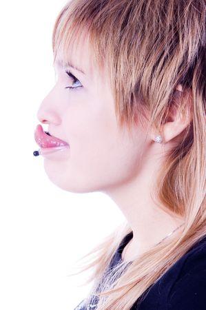 Funny pierced girl, isolated on white background  photo