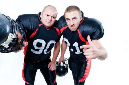 Deux joueurs de football américain isolé sur fond blanc