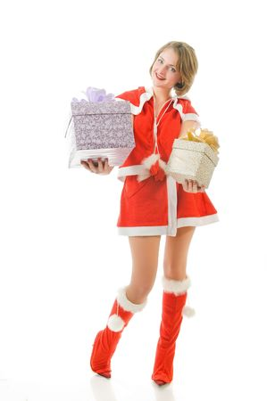 Attractive mrs. Santa with gift boxes, isolated on white background  photo