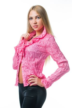 Sexy girl in pink blouse, isolated on white background  photo