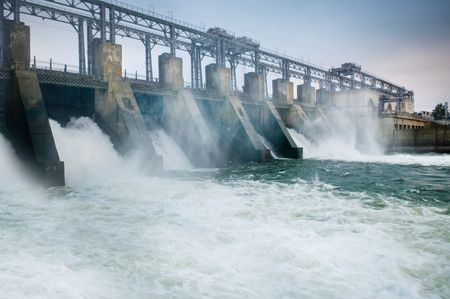 hydroelectric station: Dam with flowing water Stock Photo