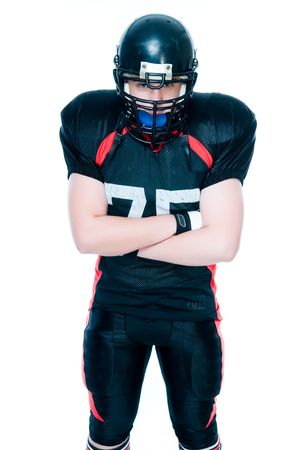 American football player, studio isolated