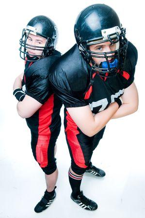 Dwóch amerykańskich piłkarzy, wysoki kąt widzenia