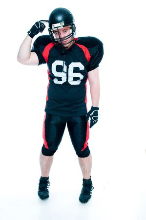 American football player gesticulating, isolated on white background