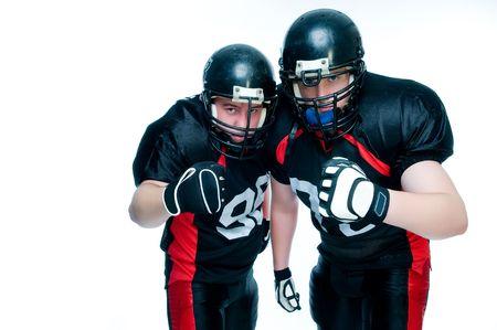 Deux joueurs de football américain sur fond blanc Banque d'images