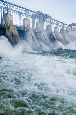 Dam with flowing water photo