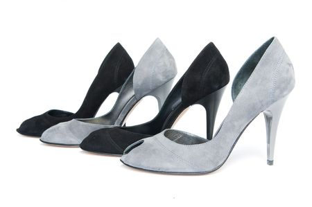 Four black and gray female shoes, focus on first   photo