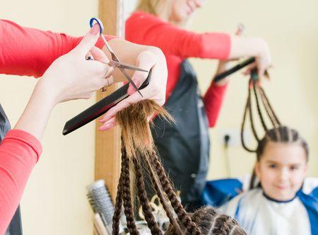 Little girl in hairdresser salon, selective focus   Stock Photo - 4583128