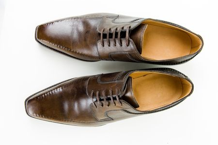 Brown leather male shoes, high angle view