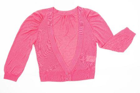 ピンクの女性のセーター、白い背景で隔離