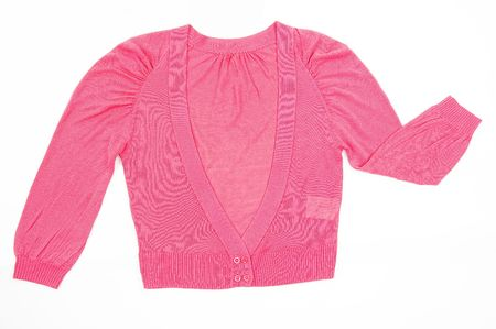 Pink female sweater, isolated on white background