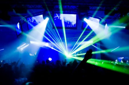 laser show: Concert, laser show, blurred motion  Stock Photo