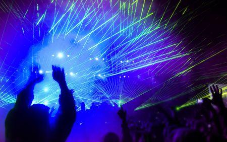 F�te de la musique avec spectacle laser Banque d'images
