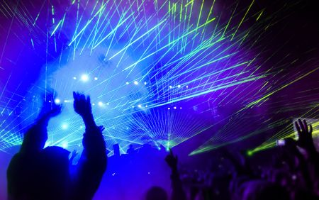 Music festival with laser show  Stockfoto