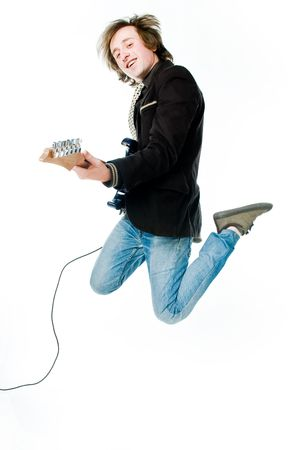 Jumping man with electro guitar, isolated on white background  photo