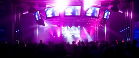 Panorama of a music festival with laser show  Stock Photo