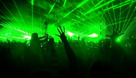 Laser show at the concert, blurred motion