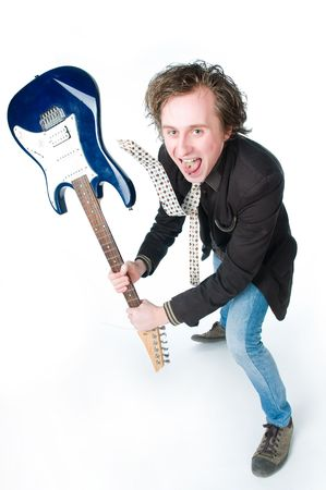 Crazy man with electro guitar, high angle view    photo