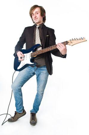 Man playing electro guitar, isolated on white background  photo
