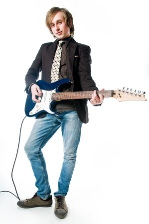 Man with electro guitar, isolated on white background  photo