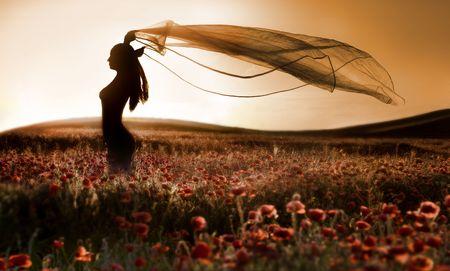 ケシ畑、芸術的な写真の美しい少女のシルエット