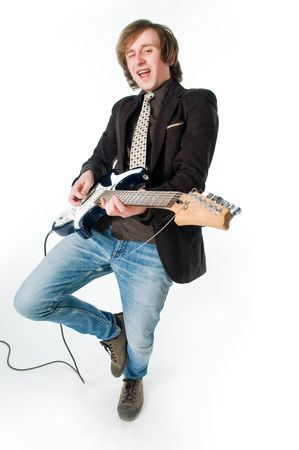 Funny man playing electro guitar, high angle view   photo