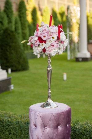 arrangment: Decoration of wedding flowers. Part of interior