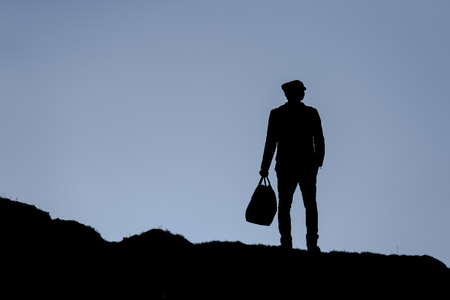 empires: beautiful fashionable silhouette Man on nature