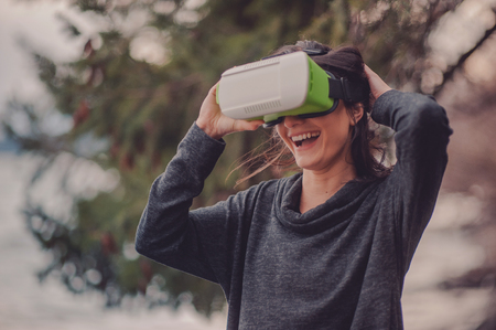 Woman with glasses of virtual reality.