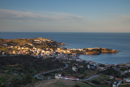 mediterranean homes: Far view of seaside houses Stock Photo