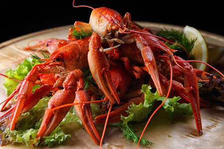 Boiled crawfish on a wooden board with lemon and herbs