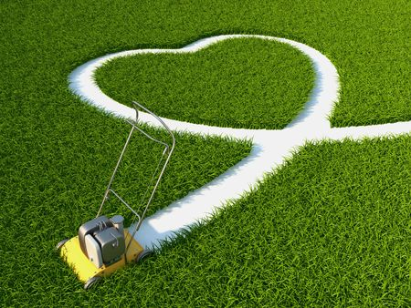 lawn: mower sheared on the grass the phape of the heart Stock Photo