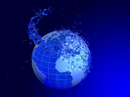 Planet poured by water on blue background