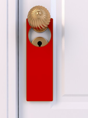 door handle with don not disturb sign