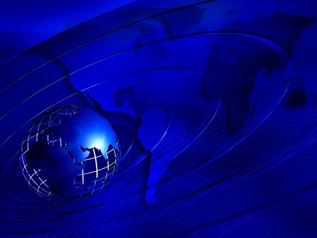 3d render Earth planet on blue background Stock Photo