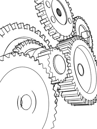 Sketch of the mechanism of that consisting of the gear wheels Stock Photo