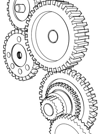 pinion: Sketch of the mechanism of that consisting of the gear wheels Stock Photo