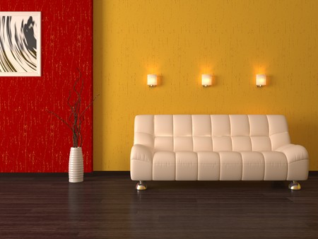Modern sofa 3d cumputer render Stock Photo - 4525693