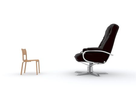 appointee: The small chair and the big armchair stand opposite each other