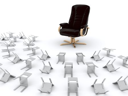 Crowd of chairs worship to a gold armchair Stock Photo