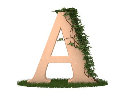 twined: The letter twined ivy stay on a grass Stock Photo