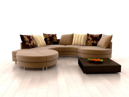 Modern sofa and orange tangerines on white background