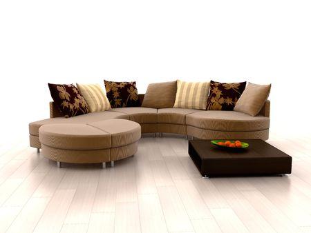 divano: Moderno divano tangerini e arancione su sfondo bianco Archivio Fotografico