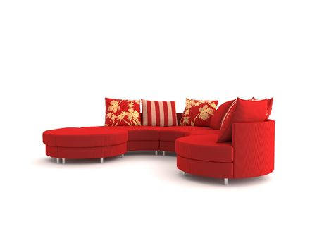 Modern red sofa a on white background