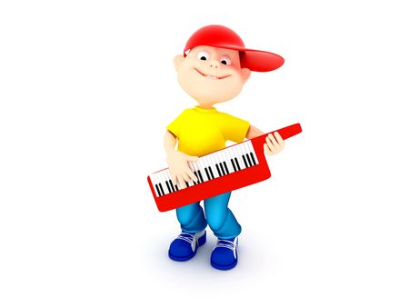 3d rendering fun boy playing on piano keyboard