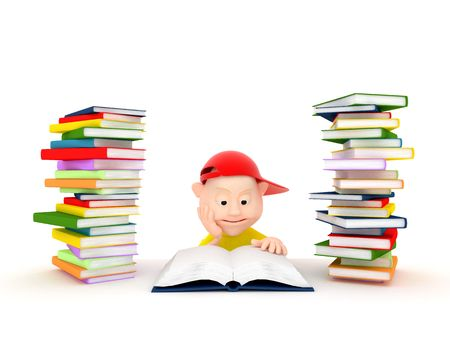 Renderind 3d fun boy reading on white background reading book Stock Photo
