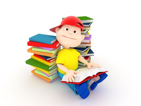 Renderind 3d fun boy reading on white background reading book photo