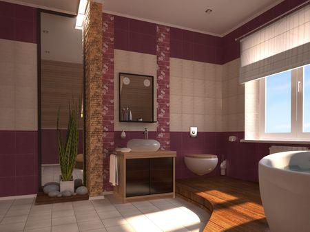 Spiegel Badezimmer: Elegantes, Modernes Interieur Im Japanischen Stil  Lizenzfreie Bilder