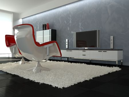 Modern interior with ceramic floor, white carpet, red armchair and plasma TV