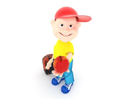 Rendering 3d fun boy giving an red apple Stock Photo
